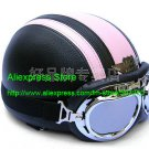 YH-998 Leather Half Bol Cycling Open Face Motorcycle Open Face Black Pink Helmet & Silver Goggles