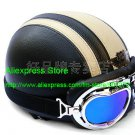 YH-998 Leather Half Bol Cycling Open Face Motorcycle Open Face Black Grey Helmet & Color Goggles