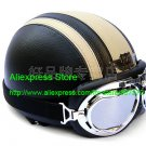 YH-998 Leather Half Bol Cycling Open Face Motorcycle Open Face Black Grey Helmet & Silver Goggles