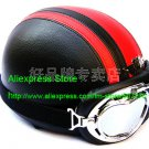 YH-998 Leather Half Bol Cycling Open Face Motorcycle Open Face Black Red Helmet & Silver Goggles