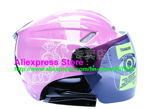 """New Germany """"Tanked 501"""" Half Vespa Motorcycle Open Face Racing Cycling Pink Helmet"""