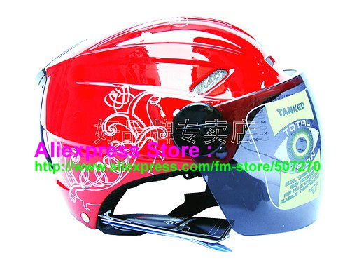 """New Germany """"Tanked 501"""" Half Vespa Motorcycle Open Face Racing Cycling Red Helmet"""
