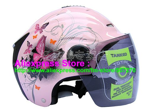 """New Germany """"Tanked 502"""" Half Vespa Motorcycle Open Face Racing Cycling Pink Helmet"""
