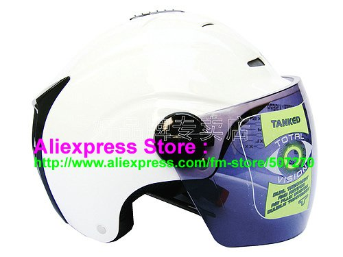 "New Germany ""Tanked 502"" Half Vespa Motorcycle Open Face Racing Cycling White Helmet"