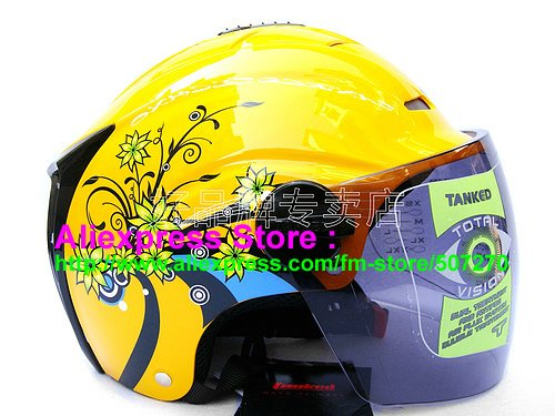 """New Germany """"Tanked 502"""" Half Vespa Motorcycle Open Face Racing Cycling Yellow Helmet"""