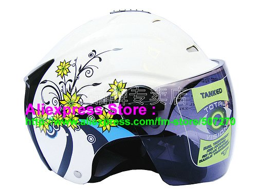 """New Germany """"Tanked 502"""" Half Vespa Motorcycle Open Face Racing Cycling White Helmet"""