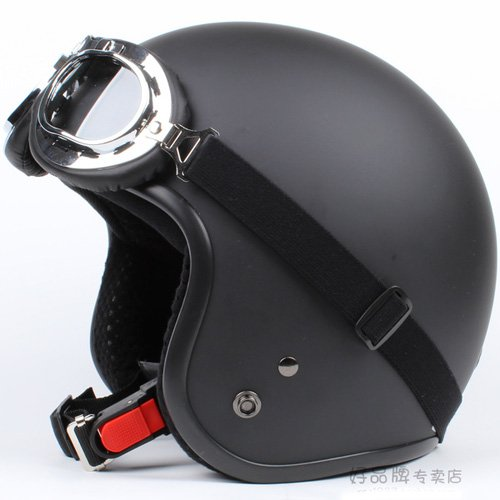 "H.02 Taiwan "" SYC "" ABS Cycling Open Face Helm Motorcycle Full Matte Black Helmet & UV Goggles"