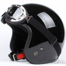 "H.07Taiwan "" SYC "" ABS Cycling Open Face Casco Motorcycle Full Bright Black Helmet & UV Goggles"