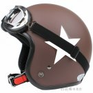 "H.09 Taiwan "" SYC "" ABS Open Face Casco Motorcycle Matte Coffee # White Star Helmet & Goggles"