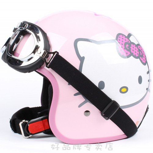 """H.15 Taiwan """" EVO """" ABS Racing Open Face Motorcycle """" Hello Kitty """" Gloss Pink Helmet & UV Goggles"""