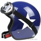 "H.16 Taiwan "" EVO "" ABS Retro Open Face Motorcycle Gloss Blue # White Star Helmet & UV Goggles"