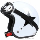 "H.17 Taiwan "" SYC "" ABS Open Face Motorcycle Gloss White # Black Star Helmet & UV Goggles"
