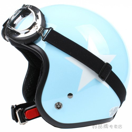"""H.18 Taiwan """" SYC """" ABS Casco Open Face Motorcycle Sky Blue # White Star Helmet & UV Goggles"""