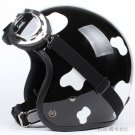 "H.19 Taiwan "" HUA TAI "" ABS Open Face Helm Motorcycle dairy cow Black # White Helmet & UV Goggles"