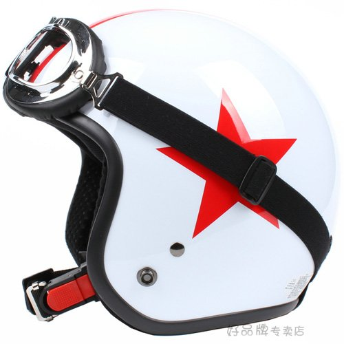 """H.21 Taiwan """" SYC """" ABS Half Face Casco Motorcycle Gloss White # Red Star Helmet & UV Goggles"""
