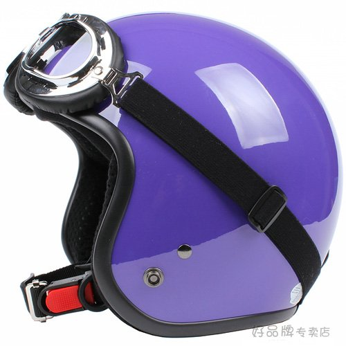 "H.24 Taiwan "" SYC "" Retro ABS Bicycle Half Face Motorcycle Full Gloss Purple Helmet & UV Goggles"