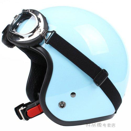 "H.25 Taiwan "" SYC "" Retro ABS Open Face Motorcycle Full Gloss Sky BLue Helmet & UV Goggles"