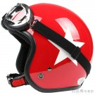 "H.26 Taiwan "" SYC "" ABS Scooter Open Face Motorcycle Full Gloss Red # White Star Helmet & UV Goggles"