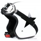 """H.35 Taiwan """" EVO """" ABS OFF Road Half Face Motorcycle White # Black Star Helmet & UV Goggles"""
