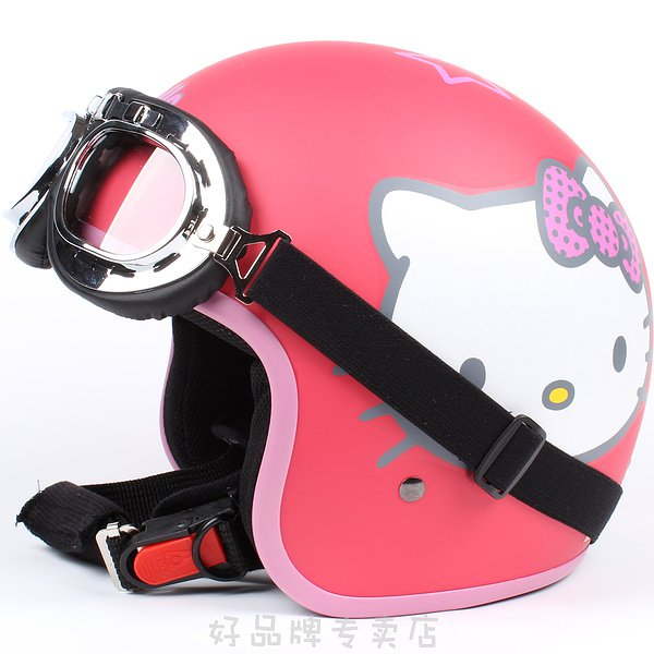 """H.36 Taiwan """" EVO """" ABS Bicycle Open Face Motorcycle ''Hello Kitty' MATT RED Helmet & UV Goggles"""