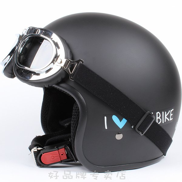 "H.37 Taiwan "" EVO "" Retro Racing Half Face Motorcycle "" My Bike "" Matt Black Helmet & UV Goggles"