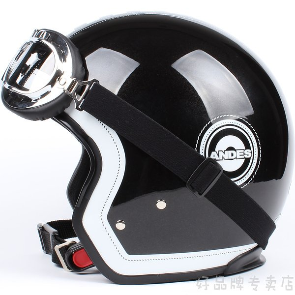 "H.41 Taiwan "" EVO "" Retro OFF Road Half Face Casco Motorcycle Black grid Helmet & UV Goggles"