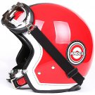 "H.42 Taiwan "" EVO "" 3/4 Motorcycle Helmet Open Face Helm OFF Road "" grid "" Red Casco & UV Goggles"