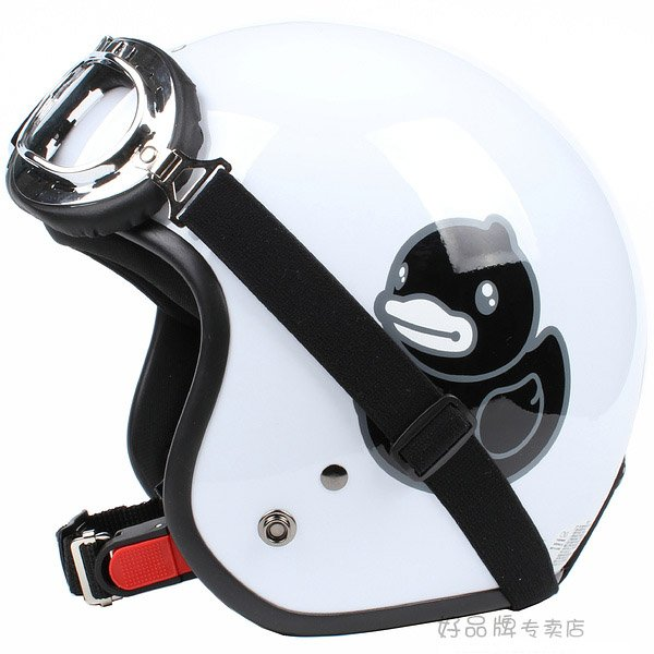 "H.48 Taiwan ""EVO"" 3/4 Half Face Casque Motorcycle "" Black B.DUCK "" Bright White Helmet & UV Goggles"
