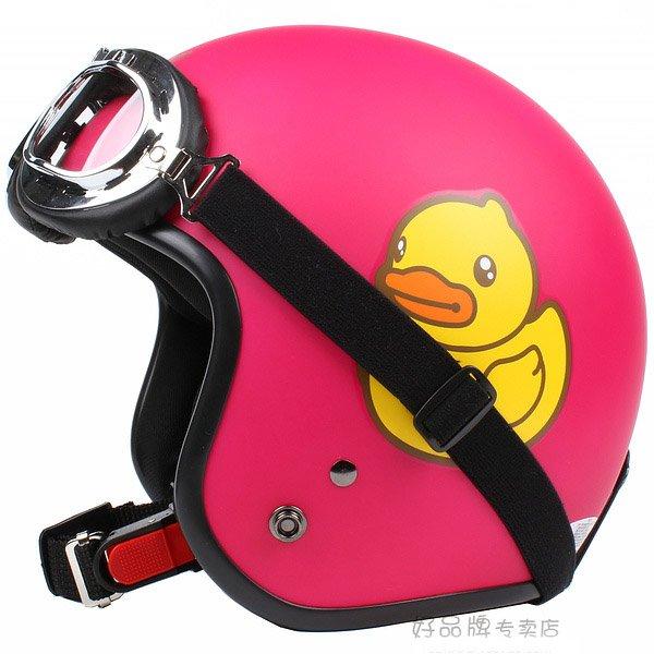 "H.49 Taiwan ""EVO"" 3/4 Half Face Casque Motorcycle "" Yellow B.DUCK "" Matt Red Helmet & UV Goggles"