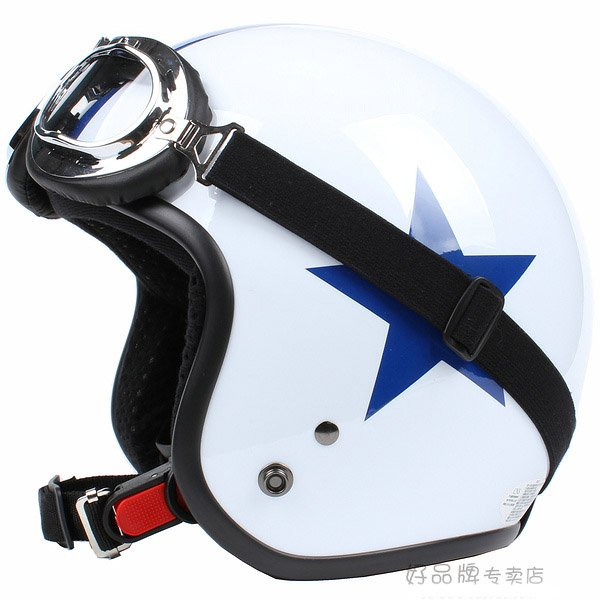 "H.93 Taiwan "" SYC "" Retro ABS Scooter Casque Motorcycle White # Blue Star Helmet & UV Goggles"