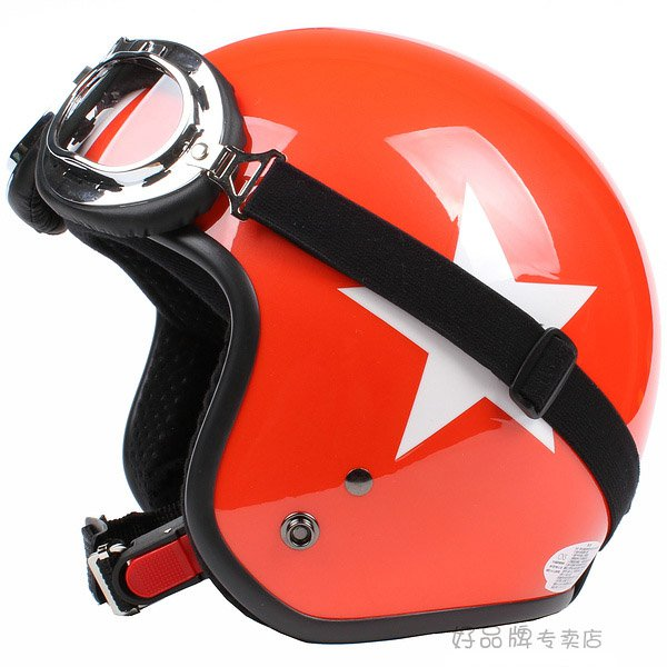 """H.111 Taiwan """" SYC """" Scooter Half Face Motorcycle Bright ORANGE # White Star Helmet & UV Goggles"""