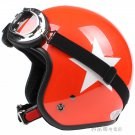 "H.111 Taiwan "" SYC "" Scooter Half Face Motorcycle Bright ORANGE # White Star Helmet & UV Goggles"