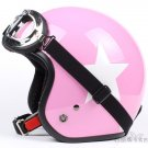 "H.115 Taiwan "" SYC "" Scooter Motocross Half Face Motorcycle Pink # White Star Helmet & UV Goggles"