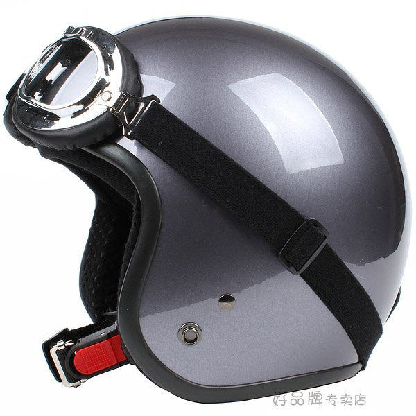 "H.116 Taiwan "" SYC "" Scooter Motocross Half Face Motorcycle Full Metal Grey Helmet & UV Goggles"