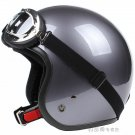 "H.116 Taiwan "" SYC "" Scooter Motocross Half Face Motorcycle Full Metal Grey Helmet & UV Goggles"