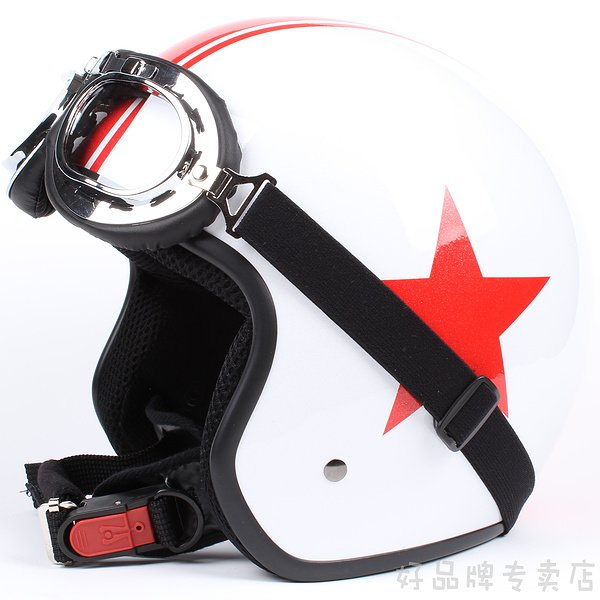 "H.117 Taiwan "" EVO "" Scooter Half Face Motorcycle Gloss White # Red Star Helmet & UV Goggles"