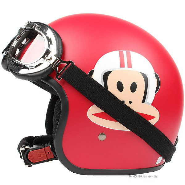 "H.129 Taiwan ""EVO"" Scooter Casque Open Face Casco Motorcycle ""Monkey"" Matt Red Helmet & Goggles"