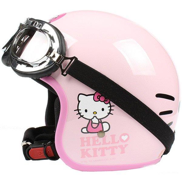 "H.131 Taiwan ""EVO"" Casque Open Face Casco Motorcycle "" Hello Kitty Big Face "" Pink Helmet & Goggles"