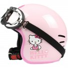 "H.131 Taiwan ""EVO"" Casque Open Face Casco Motorcycle "" Hello Kitty Big Face "" Pink Helmet & Goggles"