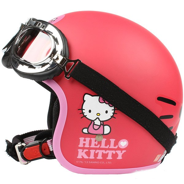 "H.132 Taiwan ""EVO"" Casco Open Face Casco Motorcycle ""Hello Kitty Big Face"" Matt Red Helmet & Goggles"