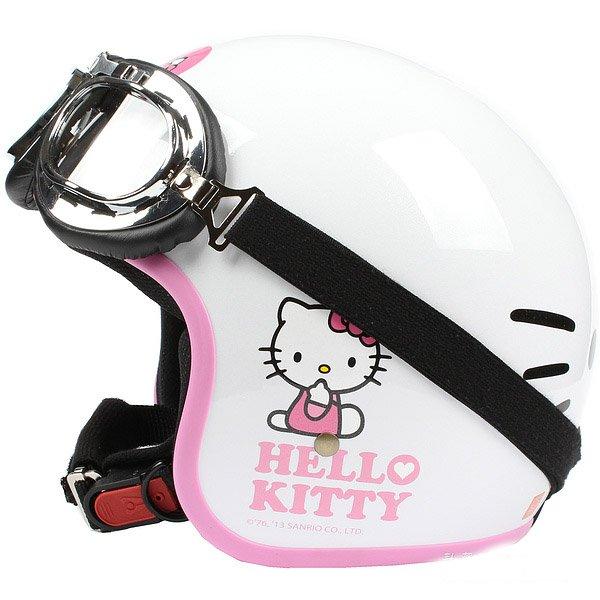 "H.133 Taiwan ""EVO"" Casco Open Face Casco Motorcycle ""Hello Kitty Big Face"" White Helmet & Goggles"