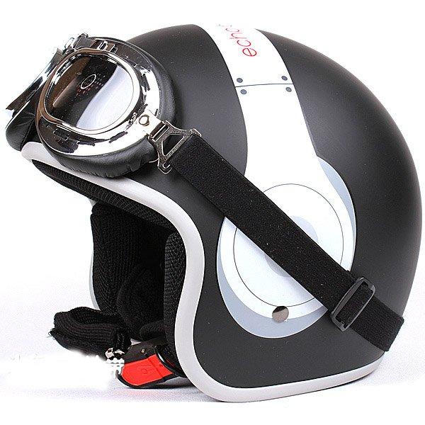 "H.134 Taiwan ""EVO"" Casco Scooter Open Face Motorcycle "" e earphone "" Matt Black Helmet & UV Goggles"