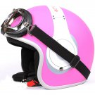 "H.135 Taiwan ""EVO"" Casco Scooter Open Face Motorcycle "" e earphone "" Matte Pink Helmet & UV Goggles"