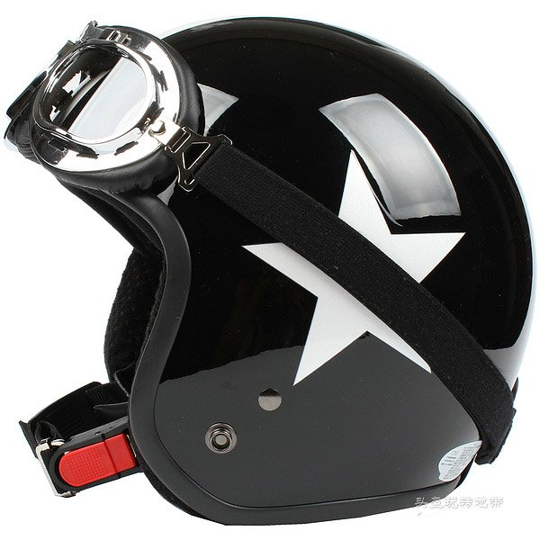 "H.146 Taiwan ""SYC"" Scooter Casco Open Face Casque Motorcycle Black # White Star Helmet & Goggles"