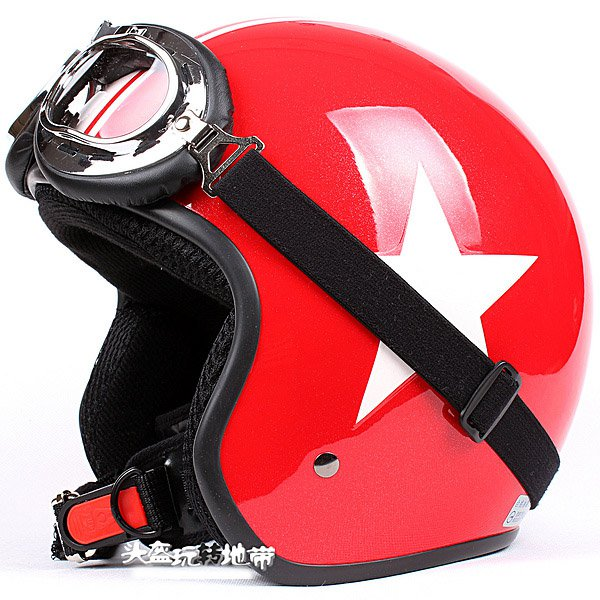 """H.148 Taiwan """" EVO """" Casco off road Casque Motorcycle Gloss Red # White Star Helmet & Goggles"""