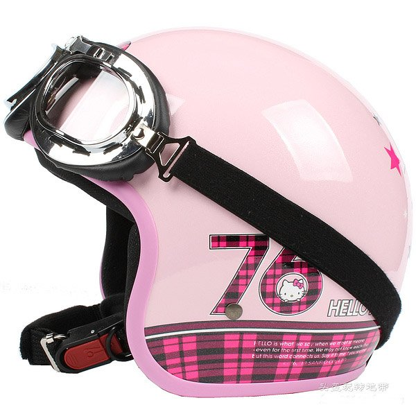 """H.151 Taiwan """" EVO """" Scooter Casco Helm Motorcycle """" 76 Hello Kitty """" Pink Helmet & Goggles"""
