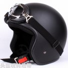 "H.163 Taiwan "" EVO "" Cycling Scooter Open Face Casco Motorcycle Matt Black Helmet & Goggles"