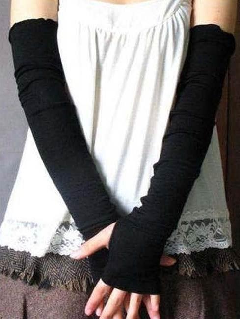 Black lady Fingerless warm Mitten long gloves wrist cover arm Half glove with Women fingers