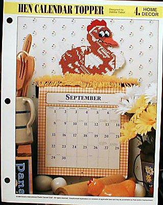 Hen Calendar Topper - Plastic Canvas Pattern