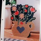 Pot of Flowers Doorstop - Plastic Canvas Pattern